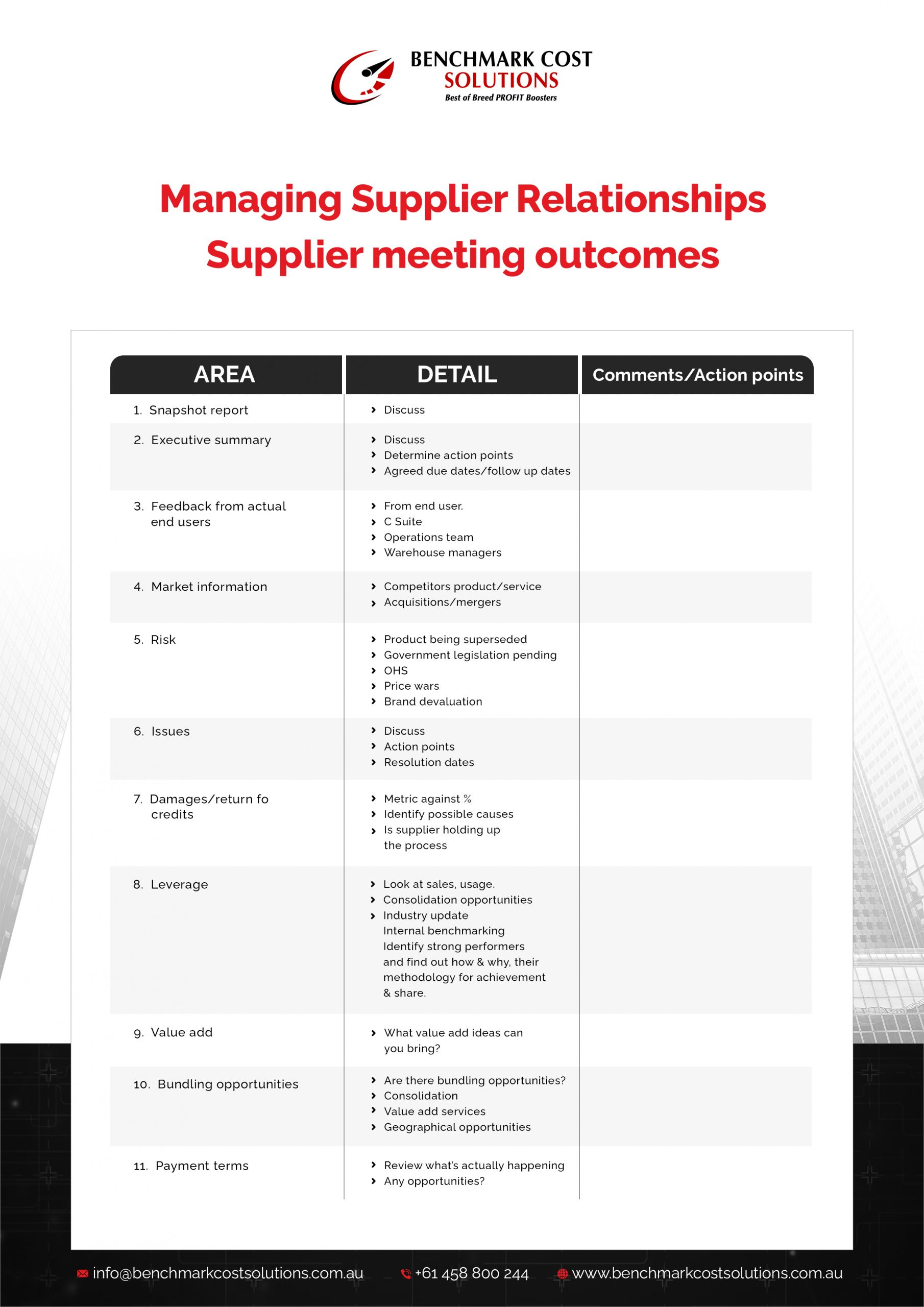 Supplier Meeting-Benchmark Cost Solutions