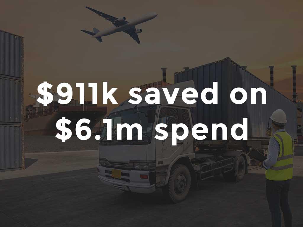 $911K savings on international freight benchmarking